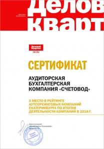 2 место в рейтинге лучших бухгалтерских компаний Екатеринбурга